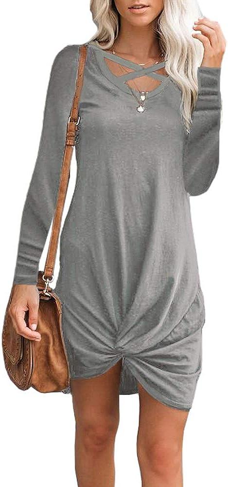 CNJFJ Women's Long Sleeve T-Shirt Dress Casual Criss Cross Neck Knot Front Loose Swing Tunic Dress