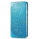 NEINEI Folio Hülle für Asus Zenfone 8,PU/TPU Flip Schutzhülle Lederhülle Klapptasche Handytasche mit Kartenfächer,3D Blühende Blumen Muster Handyhülle Hülle,Blau