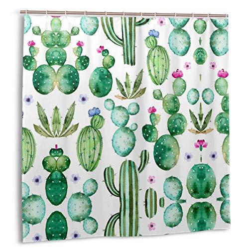 Tropical Cactus Shower Curtain for Bathroom Succulents Plants Bath Curtain Watercolor Mexican Texas Cactus Spikes Succulents Plants Shower Curtains Waterproof 72 X 72 Inch Rustic Shower Curtain