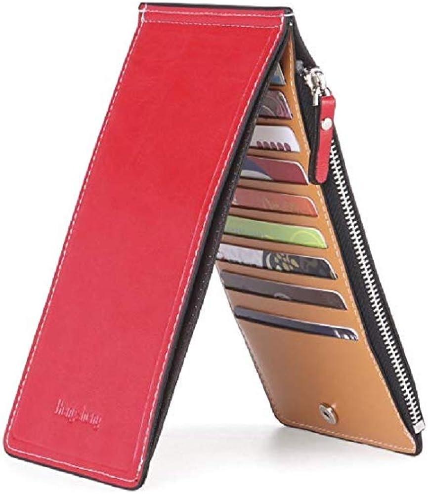 Ducomi, portafoglio unisex con zip, e 18 scomparti per carte di credito, in pelle sintetica 0680596345749