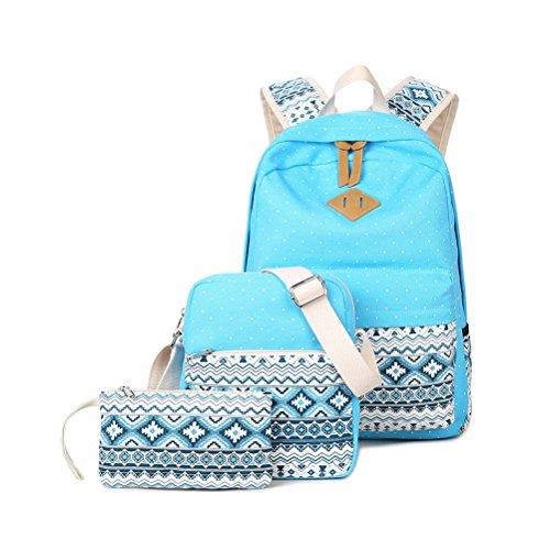 Zaino Casual Scuola Set 3pcs Daypacks / Canvas Backpack Tela Zaini Ragazza / Donna+ Messenger Bag + Purse-Tipo B Azzurro cielo