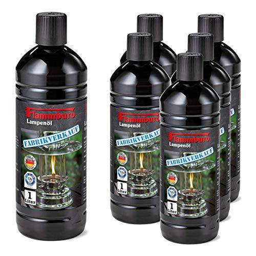 FLAMMBURO Lot de 6 bouteilles d'huile pour lampe de 1000 ml pour lampes à huile, lampes à pétrole, torches, torches de jardin, bougies à huile, huile pour torche - 6 x 1 litre = 6 litres