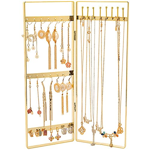 Chytaii Estante de Almacenamiento de Joyas Soporte de Exhibición de Joyería Colgador de Collar, para Exhibición y Colección de Collares y Aretes, Forma de Puerta Plegable Dorada