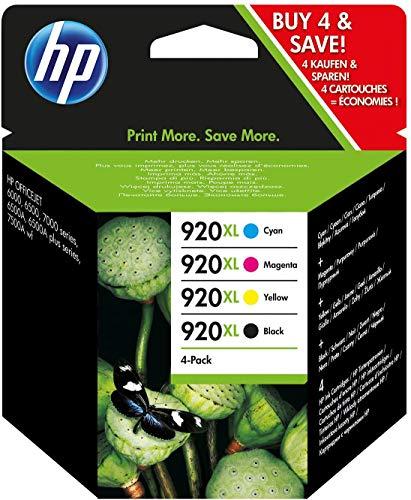 HP 920XL C2N92AE, Negro y Tricolor, Cartuchos de Tinta de Alta Capacidad Originales, Pack de 4, compatible con impresoras de inyección de tinta HP Officejet Series 6000, 7000