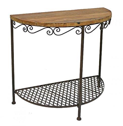 Tisch Wandtisch Halbrundtisch Platte aus altem Ulmenholz 77952