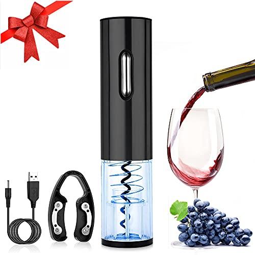 RANJIMA Cavatappi elettrico, apribottiglie elettrico, apribottiglie automatico, apribottiglie senza fili, apribottiglie di vino, set di ricarica USB con taglia-pellicola, per esterni, cucina, cortile