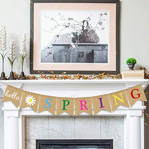 Hello Spring Banner Sackleinen – Rustikale Frühlingsbanner Girlande – Frühlingsdekorationen – Indoor Outdoor Kaminofen hängende Dekoration