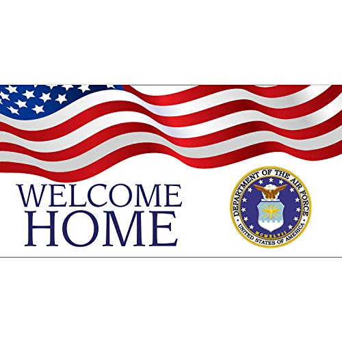 BANNER BUZZ MAKE IT VISIBLE Welcome Home Department of The Air Force USA Banner 11 Oz High Quality Vinyl PVC Flex Banners with Hemmed Edges & Metal Grommets Free (3' X 2') -  BannerBuzz