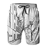 Pantaloncini da Surf da Uomo,Paris Street con Case edifici e Albero sul vicolo della Torre Eiffel sullo Sfondo,Costume da Bagno con Fodera in Rete ad Asciugatura Rapida M