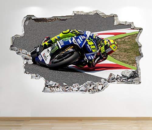 1Stop Graphics Shop Valentino Rossi Adesivo da Parete 3D Look - Ragazzi Cameretta Bambini Motocicletta da Parete, Decalcomania Z176 - Large: 70 cm x 111 cm
