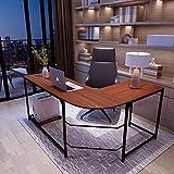 Simlife Modern L-Shaped Desk Reversible Corner Gaming Computer Desk for Home Office Wood & Metal (Large,Teak)