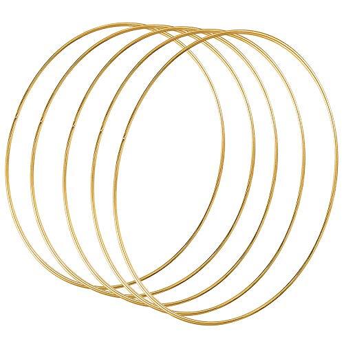 Sntieecr 5 Stück 35cm Gold Metallring Makramee Ringe Floral Hoops Ringe Kranz für Floral Hoop Kranz Hochzeit Dekor, Traumfänger und DIY Handwerk Basteln
