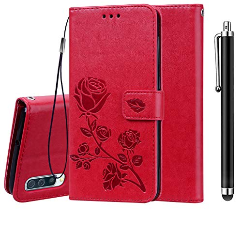 XIFAN Coque pour Samsung Galaxy A70, [Motifs en Relief 3D] Housse Portefeuille en Cuir Vintage avec Fermeture Magnétique, Fonction de Support et Fente pour Carte, Rouge + 1 Stylet