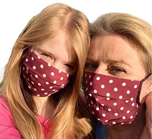2 Stück Mundmasken für Mama und Tochter aus 100% gewebter Baumwolle (2-lagig) waschbar, EU Produkt und Stoffe, Behelfsmaske, Gesichtsmaske, Stoffmasken, rot Punkte