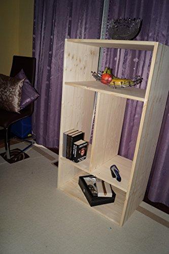 2in1 Regal Sideboard Bücherregal Schrank Wohnwand aus Massiv Fichte 120x64x40cm geschliffen Made in Germany - 2