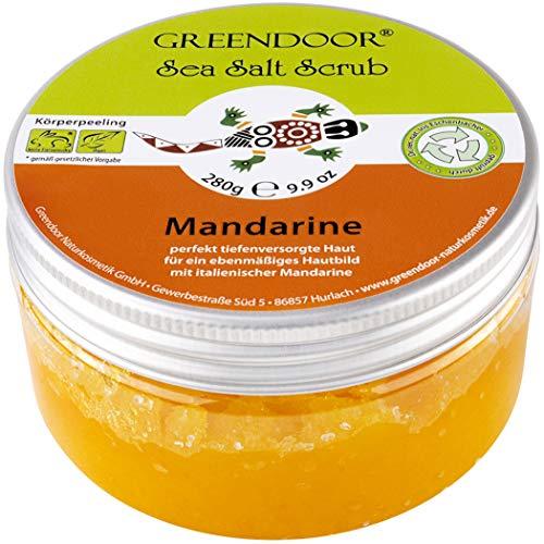 Greendoor Körperpeeling Meersalz Mandarine 280g natürliches Peeling ohne Mikroplastik, Duschpeeling ohne Konservierung, mit BIO Jojobaöl, Naturkosmetik Body Scrub, Natur Sauna-Salz