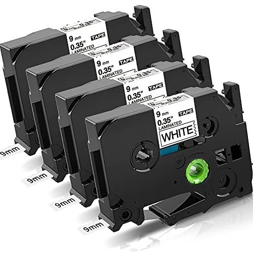 COLORWING kompatibel Schriftband Ersatz für Brother P-touch TZe-221 9mm TZ221 Schriftband für Brother P-touch PT-H100L H100r 1280 H105 H110 D400 D600 E100, schwarz auf weiß 4er
