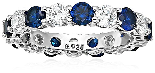 Platinum-Plated Sterling Silver Created Sapphire and Swarovski Zirconia All-Around Band Ring, Size 7