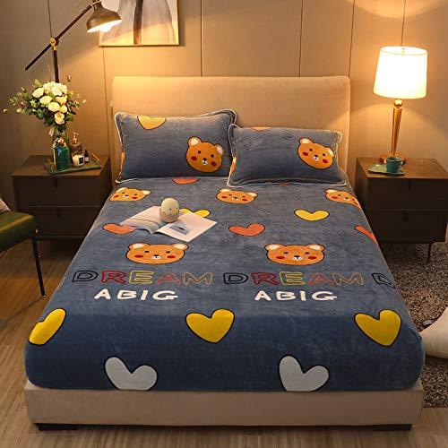 BIANXU Funda de colchón de franela elástica para invierno, súper suave, grande y individual, 90 x 200 x 30 cm, sin funda de almohada