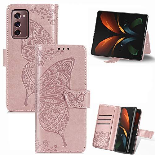 TOPOFU Samsung Galaxy Z Fold2 5G Hülle Flip Lederhülle,Schmetterling Muster Magnetische PU Wallet Ledertasche mit Ständer Kartensteckplätze Handyhülle für Samsung Galaxy Z Fold2 5G-Rosé Gold