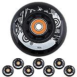 SSCYHT Roues Rechange Roller avec Roulements 72 mm 76 mm 80 mm Roue PU à Rebond Elevé 85A Paquet 8,80mm