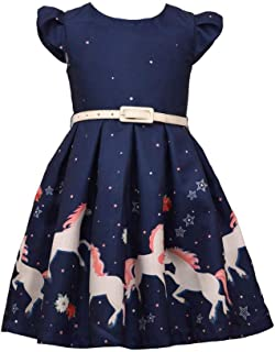 Girls Unicorn Magic Print Navy Blue Skirt with Belt