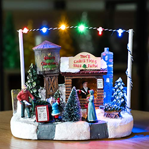 Impress Life Christmas Tree Farm House Village, Battery Operated LED Light Up, Scene Christmas Story Decoration, Mini Villa House Ornament Plant Pot Figurine Landscape for Moss Plant Pot