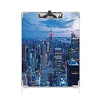 クリップボード ニューヨーク プレゼントA4 バインダー ニューヨークの空中夜景と夕暮れの空と曇りの夕暮れ市ファッションキャピタルアート写真 用箋挟 クロス貼 A4 短辺とじ青