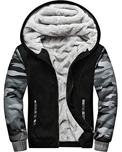 MACHLAB Men's Pullover Winter Workout Fleece Hoodie Jackets Full Zip Wool Warm Thick Coats Army GreyBlack#W919 2XL