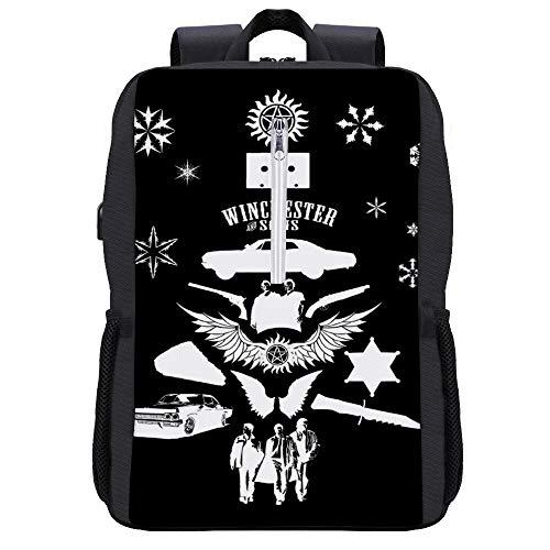 Supernatural Weihnachtsbaum-Silhouette weißer Rucksack Tagesrucksack Büchertasche Laptop Schultasche mit USB-Ladeanschluss