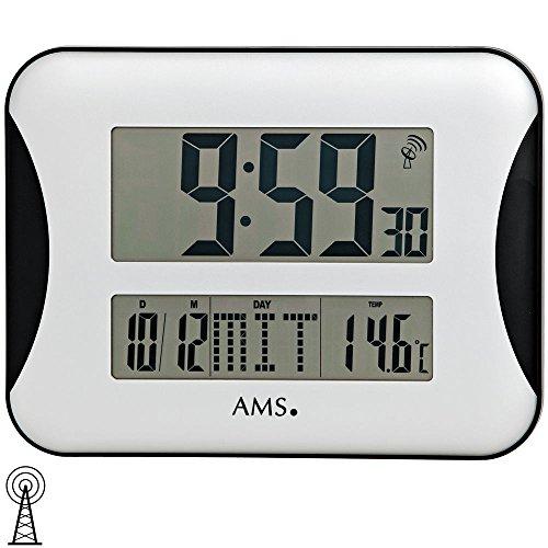 AMS 5894 Wanduhr Funk digitale Anzeige von Zeit, Datum, Wochentag und Temperatur