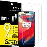 NEW'C 3 Unidades, Protector de Pantalla para OnePlus 6, Antiarañazos, Antihuellas, Sin Burbujas, Dureza 9H, 0.33 mm Ultra Transparente, Vidrio Templado Ultra Resistente