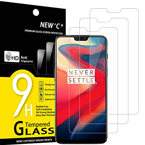 NEW'C Lot de 3, Verre Trempé Compatible avec OnePlus 6, Film Protection écran sans Bulles d'air Ultra Résistant (0,33mm HD Ultra Transparent) Dureté 9H Glass