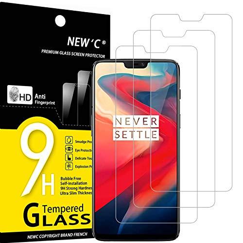 NEW'C 3 Pezzi, Vetro Temperato Compatibile con OnePlus 6, Pellicola Prottetiva Anti Graffio, Anti-Impronte, Durezza 9H, 0,33mm Ultra Trasparente, Ultra Resistente