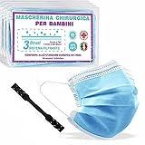 50 Mascherine Chirurgiche per Bambini Certificate + Ear Saver, Prodotte in Italia, Medicali di Tipo II, Tre Comodi Strati di Protezione in TNT, Blu