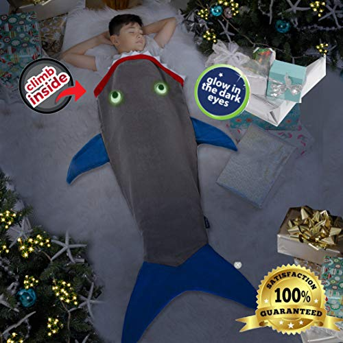 """Product Image 8: Blankie Tails   Shark Blanket, New Shark Tail Double Sided Super Soft and Cozy Minky Fleece Blanket, Machine Washable Wearable Blanket (56"""" H x 27"""" (Kids Ages 5-12), Glow in The Dark – Gray & Blue)"""