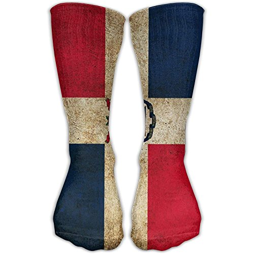 Axige888 Dominican Republic Flag Novelty Cotton Crew Socks Fashion Ankle Dress Socks For MenundWomen