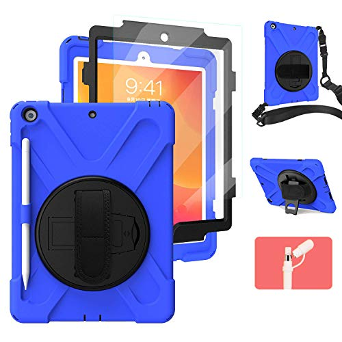 iPad 10.2 Case with Pencil Holder 2019/2020 | [Built-in Screen Protector] TSQ Full Body Dropproof Defender Case with Pencil Holder/Stand/Hand Strap for iPad 10.2 Inch 7th/8th Generation Tablet | Blue