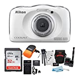 Nikon COOLPIX W100 Waterproof Digital Camera (White) + 32GB Card +...