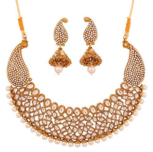 Touchstone Ejemplar de la época mughal inspirado en kundan polki look perlas de imitación esmeralda azul zafiro paisley motivo nupcial diseñador hasli collar set para mujer