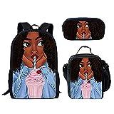 Mochilas escolares primarias para niños Black Art African Girls Pattern 3PCS / Set Mochila escolar con bolsa de almuerzo y bolsa de lápices (Backpack 3)