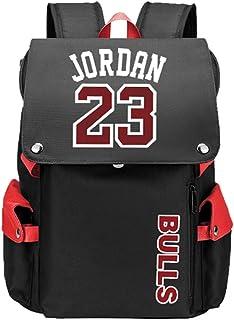 Patrón de Jugador de Baloncesto Jordan Escuela de Viaje Multifuncional Solapa Mochila Ventiladores Estudiante Mochila para Hombres Mujeres