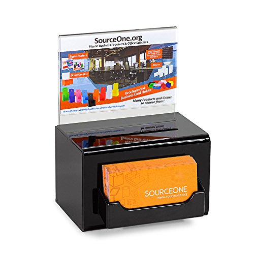 SourceOne Acrylic Donation Box Oblong With Lock Keys Sign Holder and Business Card Holder, 5 Inch Wide (1 Pack, Back)