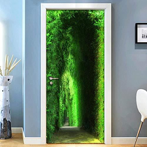 3D Türaufkleber PVC Selbstklebende Wasserdichte Grüner Garten Abnehmbare Art Decals TürPoster für Wandbild Wohnzimmer Schlafzimmer Badezimmer Dekoration 77x200 cm