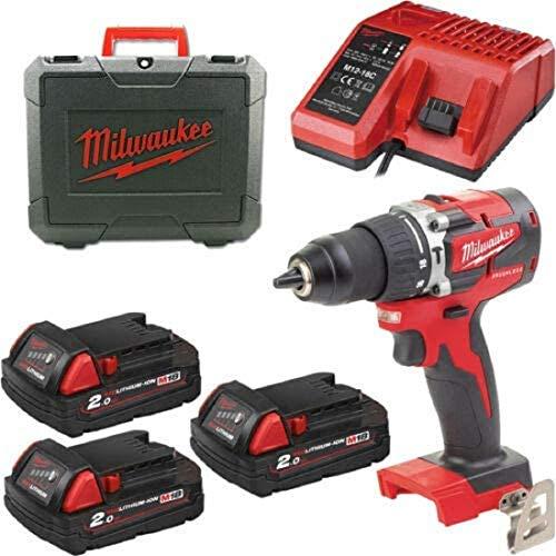 Atornillador de percusión Brushless Milwaukee M18CBLPD-203 3 baterías 2 Ah 4933472219
