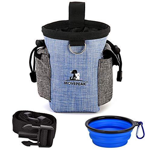 Fuming Futterbeutel für Hunde + Faltbarer Trinknapf, Futtertasche mit integriertem Poop-Beutelspender und verstellbarem Bund, leicht zu tragendes Tierspielzeug für Hundetraining (Blau)