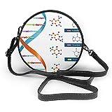 TURFED Borsa a spalla rotonda PU Basi educative per DNA Chimica Biochimica Biotecnologia Scienza Spirale Simbolo Borsa a tracolla genetica
