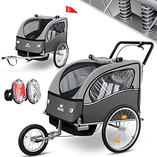 KIDIZ® 3in1 Fahrradanhänger Jogger Kinderanhänger Joggerfunktion Kinderfahrradanhänger für 1 bis 2 Kinder 5-Punkt Sicherheitsgurt inkl. Fahne und LED-Lichtern max. 70kg Fahrrad Anhänger, Grau