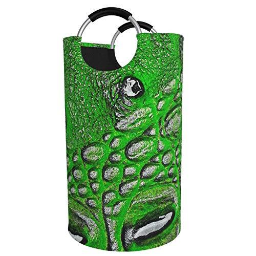 Sunmuchen Cesta organizadora de ropa con textura de piel de cocodrilo, impermeable, grande, para ropa, juguetes, dormitorio, baño, con asas de aluminio