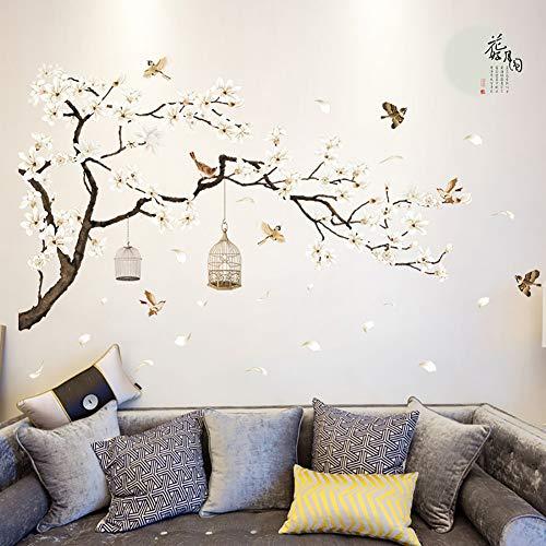 Bodhi2000 Wall Sticker, Pegatinas autoadhesivas con diseño de pájaros de luna llena, para decoración de fondo de casa, sala de estar, dormitorio, televisión.